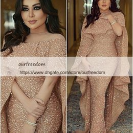Wholesale trumpet style prom gown 16w - 2018 Shining Sequins Rose Gold Evening Dresses With Wrap Mermaid Sweep Train Dubai Style Arabic Formal Occasion Dresses Prom Party Gown