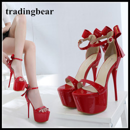 c41ec04553ac 17cm Sexy bowtie ultra platform high heels ankle strappy shoes black red  wedding shoes party club size 34 to 40
