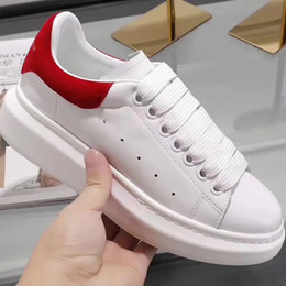 Wholesale Fabric Print Designer - Luxury Brand Women White Leather Large Flat Lace-up Sneakers Designer Fashion Girl Oversized Rubber Sole Breathable Casual Shoes With Box