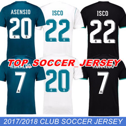 Wholesale Top Soccer Jersey Madrid - 2017 18 Top Real madrid fans version soccer Jerseys Free patch RONALDO Home Away Third BALE RAMOS ISCO MARCELO MODRIC Football Shirts