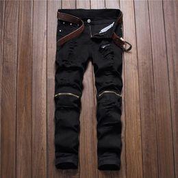 chiusure lampo cutanee bianche per gli uomini Sconti Denim strappato nero bianco strappato pantaloni al ginocchio cerniera foro biker jeans uomo slim skinny distrutto strappato pantaloni jean hip-hop swag all'ingrosso
