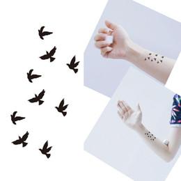 Tatuagem temporária impermeável para pássaros on-line-Bittb 5 PCS Tatuagem Desenhos de Pássaros Pretos À Prova D 'Água Etiqueta Do Tatuagem Temporária Body Art Dedo Braço Decoração Pasta Falsa Maquiagem