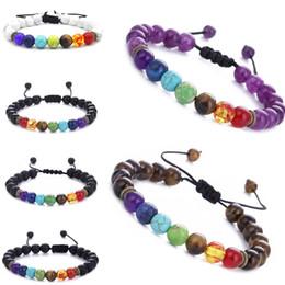 Regalo di Natale 7 Chakra Lava Healing balance beads Braccialetti di fascino Multicolore Perline Pietre Braccialetto di corda del tessuto Donna Uomo Bracciali Yoga da regali di natale di yoga fornitori
