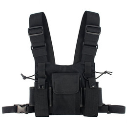 Wholesale Walkie Talkie - Abbree Radio Chest Harness Chest Front Pack Pouch Holster Vest Rig Carry Cade for Baofeng TYT Wouxun Motorola Walkie Talkie