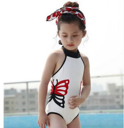 Wholesale Swimsuit Embroidery - Girls cartoon swimwear fashion children butterfly embroidery dew shoulder lace-up Bows swimming kids backless one-piece beach swimsuit Y7093