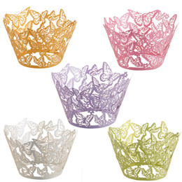 Wholesale Wrappers Baby - 60pcs Laser Cut Butterfly Cupcake Wrapper Muffin Paper Cup Cake Wedding Gift Box Birthday Party Favor Baby Shower Wedding Decor