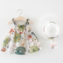 e237671046d4 High Quality Super Cute Baby Girls Floral Beach Dress+Hat Set Summer  Backless Halter Suspender Dress Kids Flower Sundress