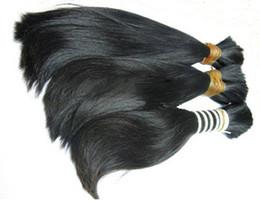 Cabello humano a granel de 24 pulgadas online-Dibujado doble - 100% cabello humano a granel Cabello crudo sin procesar 16 18 20 22 24 26 pulgadas Extensiones brasileñas de cabello liso sedoso de color natural