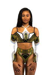 2020 traje de baño africano 2018 Nuevo traje de baño de dos piezas con estampado africano Bikini Conjunto Traje de baño geométrico atractivo Traje de baño Acolchado Y-line Traje de baño de cintura alta traje de baño africano baratos