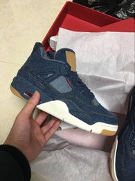 Wholesale Best Quality Denim - 2018 New NRG 4 jean Denim LS BLUE jeans men basketball shoes IV 4S sports sneakers trainers With box Best quality size 8-13