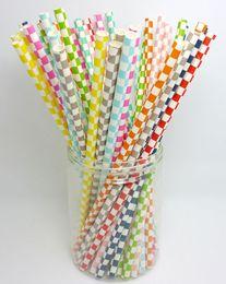 Wholesale hawaiian luau party - Colorful Paper Drinking Straws Birthday Wedding Decorative Party Event Hawaiian Holidays Luau Sticks KTV Supplies BBA340