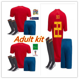 red spain uniform Promo Codes - 18-19 Spain ISCO Soccer Jersey 2018 World Cup adult Kit Soccer Jerseys #7 MORATA #22 ISCO SERGIO RAMOS Soccer Shirts uniforms
