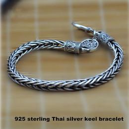 Wholesale Thai Silver Bracelets Men - V.Ya 4mm 925 Sterling Silver Bracelet for Men Vintage Mantra Thai silver bracelets wedding cool Men jewelry Fine Jewelry HYB2