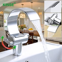 Wholesale Ceramic Art Basin - KINSE Contemporary Art Style Chrome Finish Hot & Cold Waterfall Basin Faucet Single Hole Bathroom Faucet