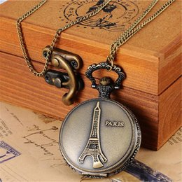 Relogios paris eiffel on-line-2018 Unisex Torre Eiffel Paris Mulheres Cadeia de Bronze Colar Relógio de Bolso Relógio Casual dropshipping