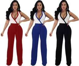 deep v neck jumpsuits 2018 - Women Deep V neck Jumpsuit With Sashes Belt Striped Sleeveless Tops Wide-leg Rompers Sexy Night Club Overalls Bodysuit fashion women clothes