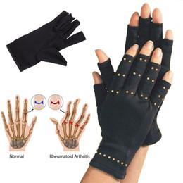 2019 guantes de cobre 2017 2 Unids / par Nuevo Cobre Manos Artritis Guantes Compresión Terapéutica Hombres Mujer Circulación Grip Brace Belt guantes de cobre baratos