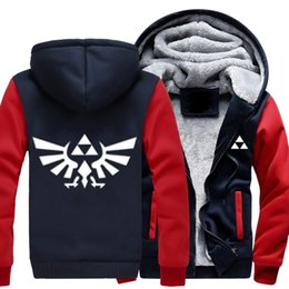 Wholesale Legend Zelda Hoodie - 2018 New High Quality The Legend of Zelda Link Men Thicken Hoodie Women Anime Zipper Coat Jacket Sweatshirt Cosplay Costume Plus
