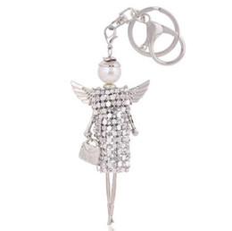 Bambole di angeli all'ingrosso online-Trasporto libero carino bambola ali d'angelo catena chiave di cristallo rhinestone portachiavi donne borsa fascino portachiavi ciondolo portachiavi auto all'ingrosso