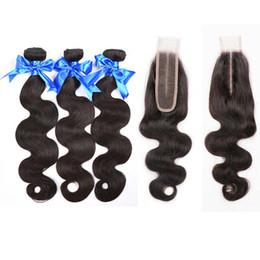 2019 cierre de la parte media de la onda profunda de malasia Malasio Body Wave Hair 3 paquetes con cierre 2x6 Cierre de cabello humano virgen barato para mujeres negras Lace Deep Middle Part cierre de la parte media de la onda profunda de malasia baratos
