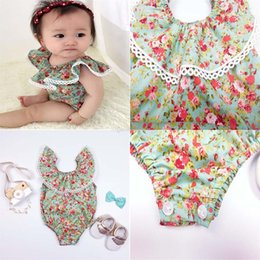 Wholesale Ha Shipping - INS baby Rompers Lotus leaf sleeveless Floral Jumpsuits cotton Rompers Ha dress kids climbing clothing Free shipping C1093