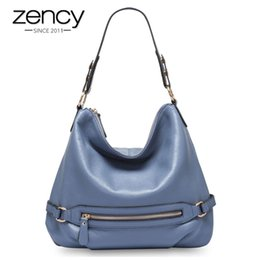 Zency 100% Real Cow Leather Classic Style Women Shoulder Bag Charm Light  Blue Lady Messenger Crossbody Purse Black Tote Handbag f47b0d1f91c08