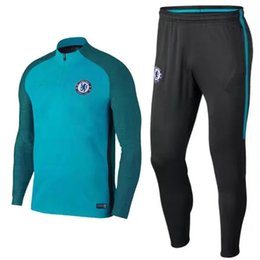 Wholesale Indian Suits - Top quality Training suit kits soccer Jersey 2017 2018 chandal football tracksuit adult long skinny pants Sports jacket