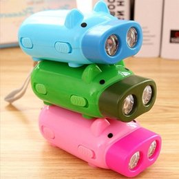 Wholesale Wind Up Crank Flashlight - Dynamo Flashlights Manual Hand Pressing Power 2 LED Protable Pig Shaped Cartoon Torch Light Crank Power Wind Up For Camping Lamp
