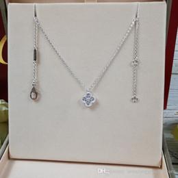 Роскошный стиль S925 стерлингового серебра фирменное наименование кулон ожерелье со средним и мини размер цветок и бриллианты для женщин свадебные украшения b от Поставщики ожерелье 48 дней
