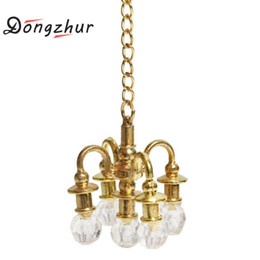 Wholesale Miniature Light Lamps - Dongzhur Mini Lamp Chandelier Dollhouse Miniature Furniture 1:12 Doll House Scene Accessories Can Not Light Miniature Chandelier