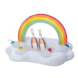 Wholesale food tray holder - Rainbow Cloud Cup Holder Ice Bucket 4 Hold Inflatable Mattress Table Bar Tray Pool Party Drink Food Float Party Favor 30pc OOA4916