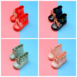 Wholesale Bow Rainboots - Children Rain Boots Toddler Shoes Waterproof Butterfly Knot With Bow Jelly Kids Rainboots Girls Rubber Shoes DDA62