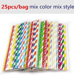 Wholesale cheap baby supplies - cheap 25pcs mix style mix color paper straw baby Kids Birthday Party Wedding Decoration Paper Drinking Straws party supplies