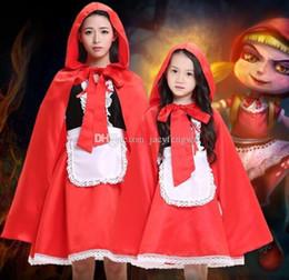 Familie passenden Frauen Rotkäppchen Gilrs Holloween Cosplay Farbe Spiel Tutu Röcke Set Kids Festival Kostüme Kleidung CSGZ0 von Fabrikanten