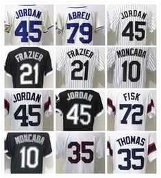 Wholesale Ivory Logo - Sox 72 Carlton Fisk 21 Todd Frazier 35 Frank Thomas 8 Bo Jackson 10 Yoan Moncada White Baseball Jersey Logos Stitched Baseball jerseys