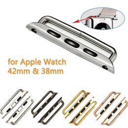 Блестящая полоса онлайн-2 шт. Адаптеры из нержавеющей стали для Apple Watch Band Адаптер Адаптер 38мм 42мм Металлический ремешок на запястье Разъемы матовые или блестящие цвета на складе