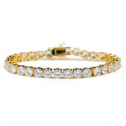 цвет заполнения бисер Скидка 1row 14k золото посажено латунь ледяной вне теннис ожерелье / браслеты хип-хоп теннис Ссылка для мужчин женщин