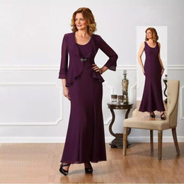 6d2f35a85a3 Chic Chiffon Plus Size Mother Of The Bride Dresses Jacket Long Sleeves  A-Line Empire Waist Mother Of Groom Dress Floor Length Evening Gowns  affordable ...