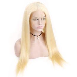 lange haare indische zöpfe Rabatt Blonde 613 # Farbe Brasilianisches Reines Menschenhaar Volle Spitze Front Perücken Dichte 150% Gerade Haar Volle Spitze Front Perücke Mit Dem Babyhaar
