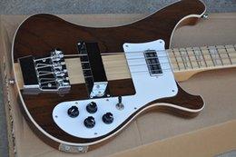 Белые гитарные струны онлайн-Новое прибытие 4 строки коричневый шеи через тело электрическая бас-гитара с клен гриф,Белый переплет,предлагая индивидуальные услуги