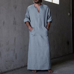 2860bc0391 Middle Islamic Man Thobe Kaftan Shirts Men s Shirts Robe Dress Long Sleeve  Cotton V-Neck Full Length Arab Kaftan Clothing Hombre
