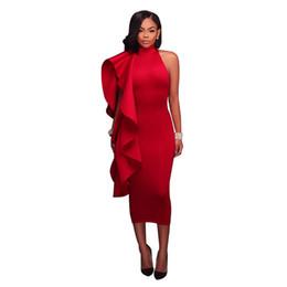 Wholesale women tight collar - Black Red Blue Women Bodycon Mid Calf Dress Elegant Ruffles Sleeveless Tight Dress Formal Evening Party Dress Vestidos