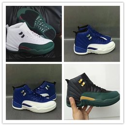 Wholesale plush for sale - 2018 New High Top 12s 12 Black Green Gold Mens Basketball Shoes Men Sports Training Sneakers For Sale size 41-47