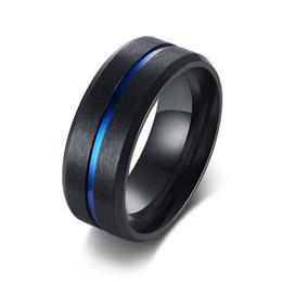 8mm Casual Negro Hombres Anillo de Línea Azul de Acero Inoxidable Banda de Boda Masculina Comfort Wear Caballeros Joyería desde fabricantes