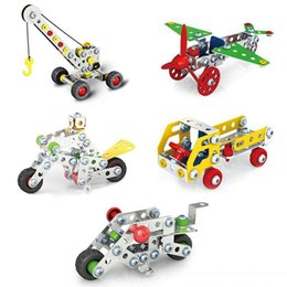 Wholesale motorcycle build - Newest 3D Assembly Metal Engineering Vehicles Model Kits Toy Car Crane Motorcycle Truck Airplane Building Puzzles Construction Play Set