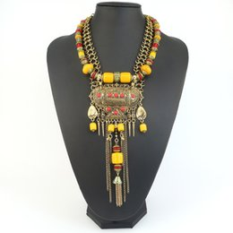 carved horn pendant Promo Codes - 2016New Fashion Boho Style Fine Jewelry Vintage Ethnic Carved Beaded Pendant Choker Statement Necklaces & pendants Tassel Women