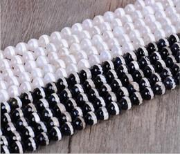 Pietra preziosa bianca nera online-8-12 mm, pietra semipreziosa naturale, perline sfaccettate in agata tinta unita sfaccettate bicolore bianco e nero