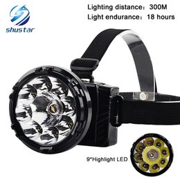 Wholesale Camp Dc - Rechargeable High power head lamp 9*LED 5000LM Headlight Camping Head Light Torch Lamp Built-in lead acid battery DC charger