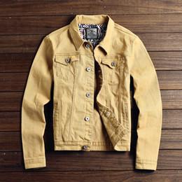 Chaqueta jeans online-Otoño Nuevo Slim Chaquetas y abrigos para hombre Chaqueta de mezclilla casual Hombres Veste Homme Hombres Chaqueta de jeans Caqui Negro Ejército Verde Rojo M-2XL