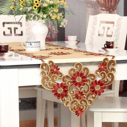Wholesale Rustic Tablecloths - Wholesale- XT European table runner embroidery elegant tablecloth organza fabric embroidered rustic table runners wedding decoration cover
